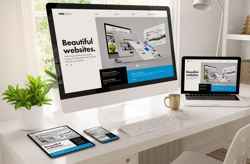 home office desktop showing web design creator 3d rendering